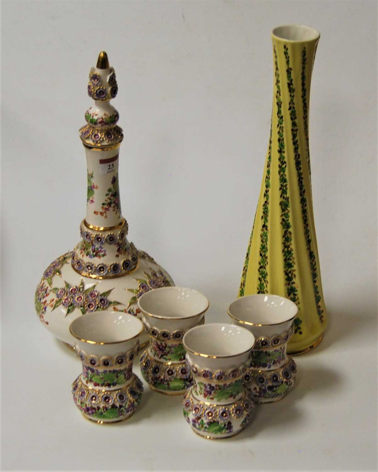 Lot 23-A modern Turkish porcelain decanter and...