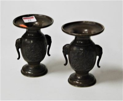 Lot 29-A pair of modern Chinese bronze vases of...