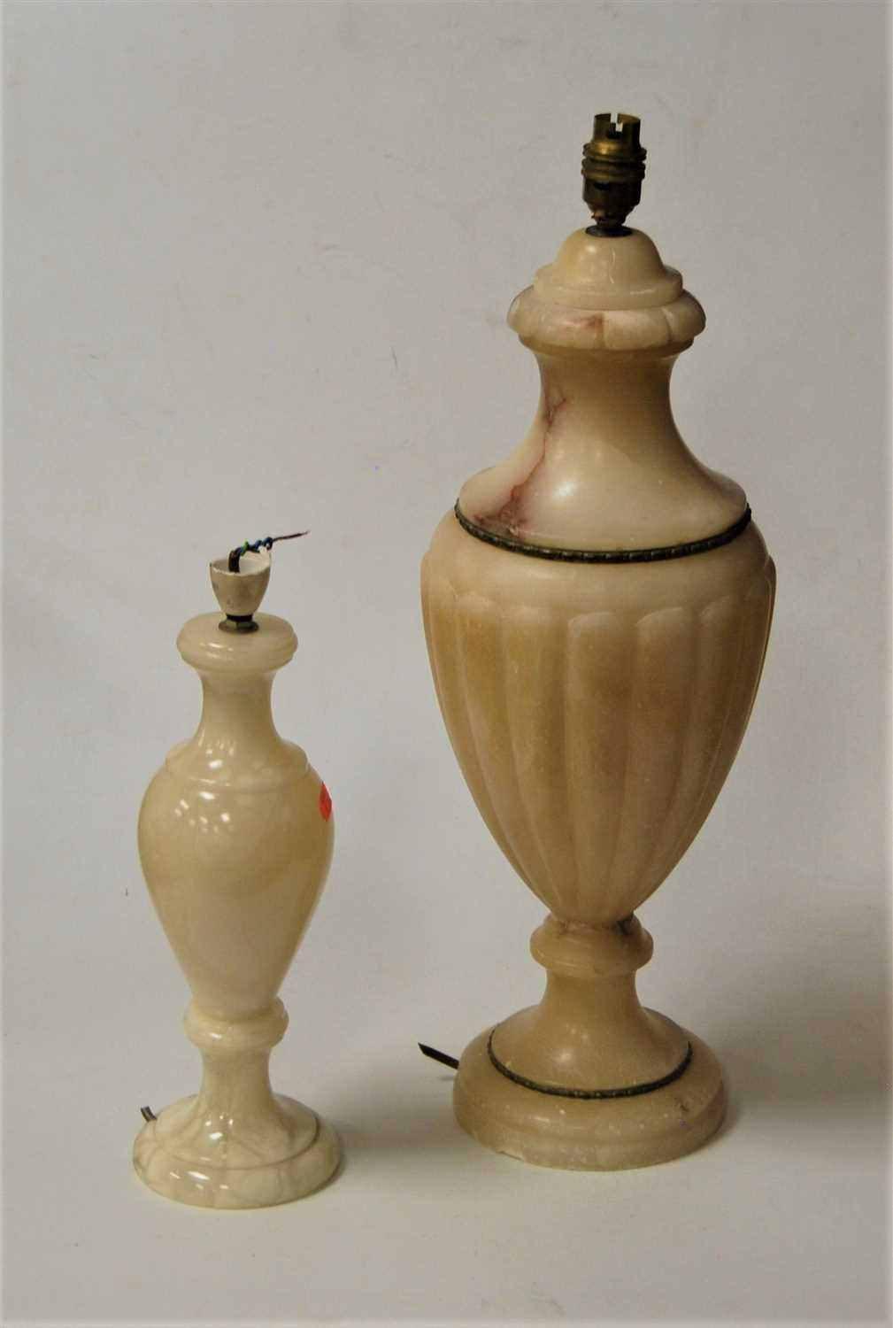 Lot 30-An early 20th century carved alabaster table lamp ...