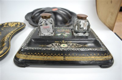 Lot 32-A Victorian black lacquered and...