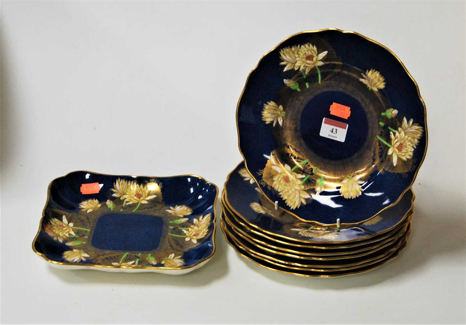 Lot 43-A Copeland Spode blue lustre part dessert...