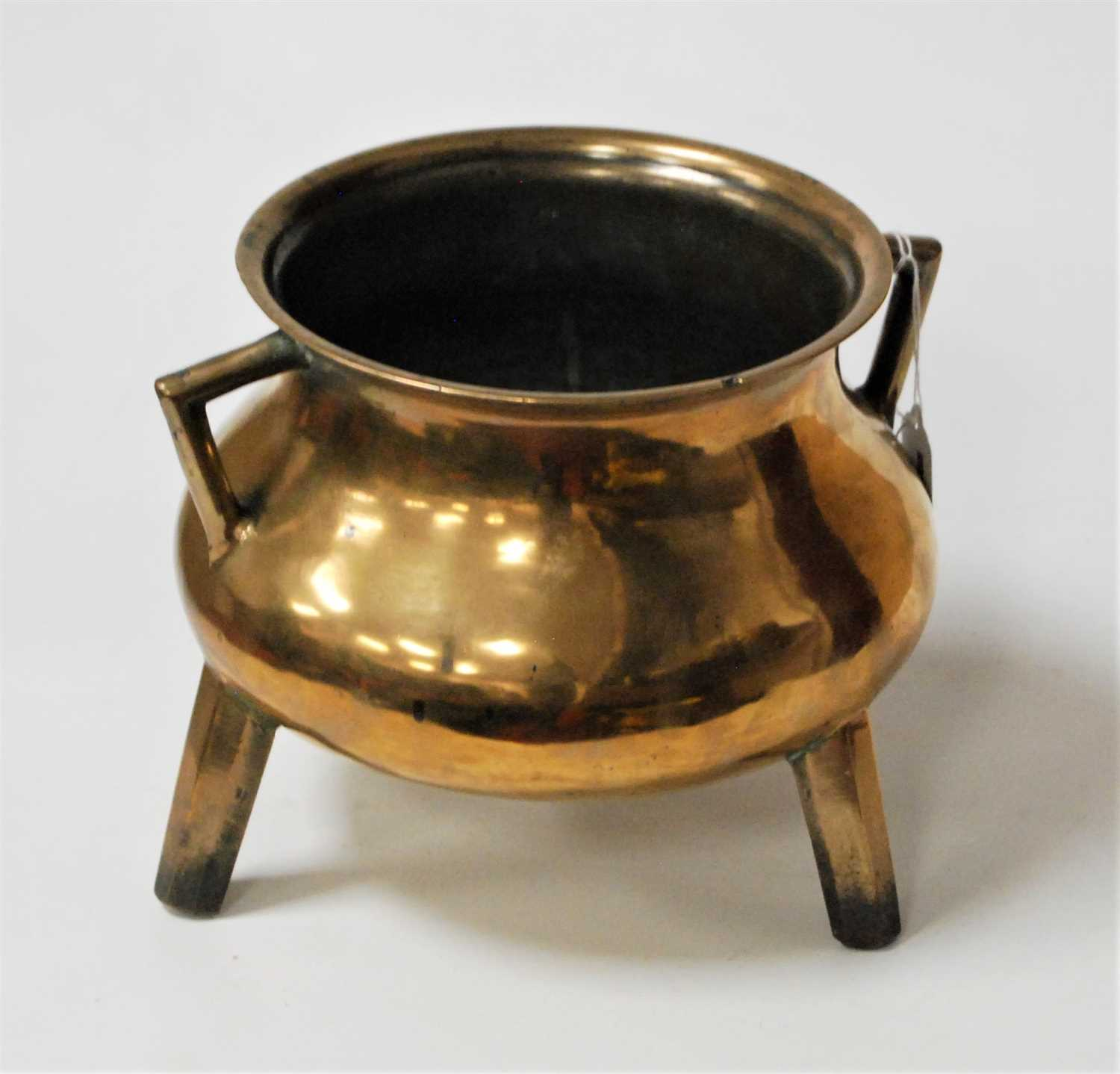 Lot 45-A large polished bronze censer, of squat circular ...