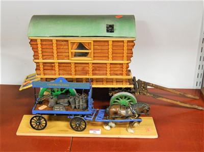Lot 46-A scratch built model of a gypsy caravan together ...