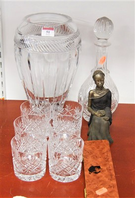 Lot 51-A large modern cut glass vase together with a set ...