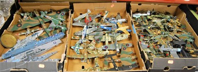 Lot 57-Three boxes of assorted kit built model military...