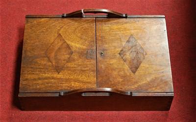 Lot 72-A 19th century mahogany twin handled cutlery tray,...