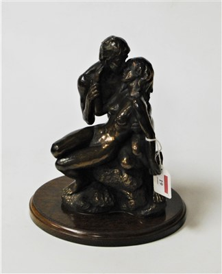 Lot 19-A modern bronzed figure group entitled The Lovers,...