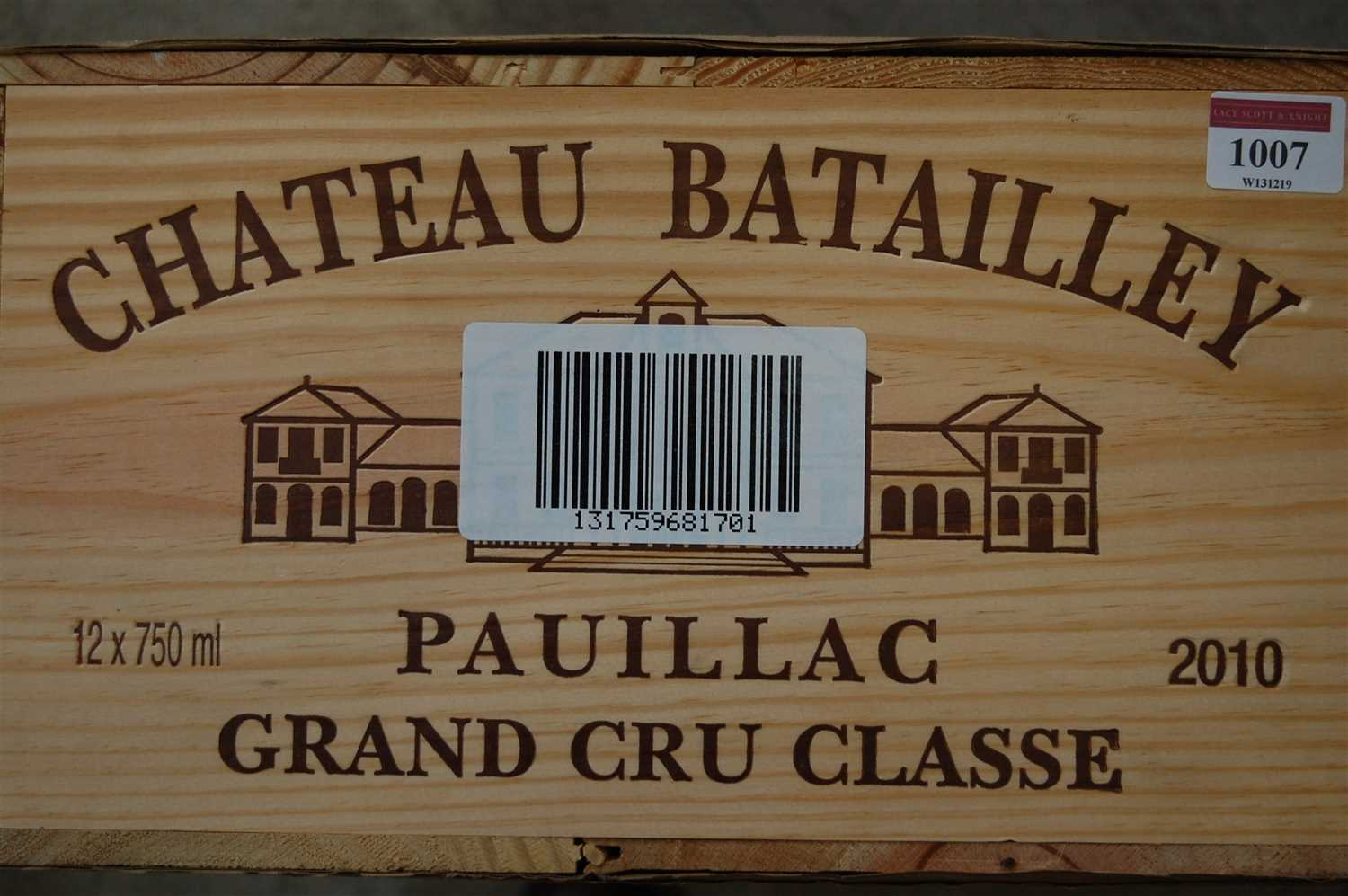 Lot 1007-Château Batailley, 2010, Pauillac, twelve...