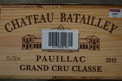 Lot 1007-Château Batailley, 2010, Pauillac, twelve bottles ...