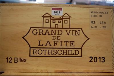 Lot 1013-Château Lafite Rothschild, 2013, Pauillac, twelve ...