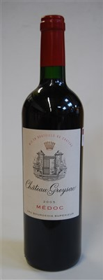 Lot 1029-Château Greysac, 2005, Medoc, five bottles