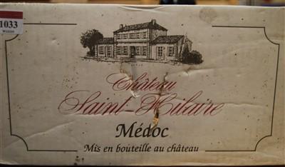 Lot 1033-Château Saint-Hilaire, 2001, Medoc, six...