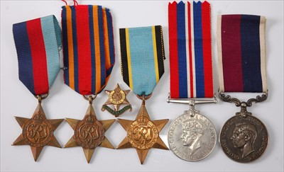 Lot 44-A George VI group of five medals to include
