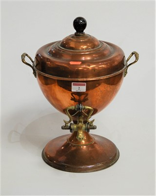 Lot 2-An early 20th century copper samovar, having twin ...