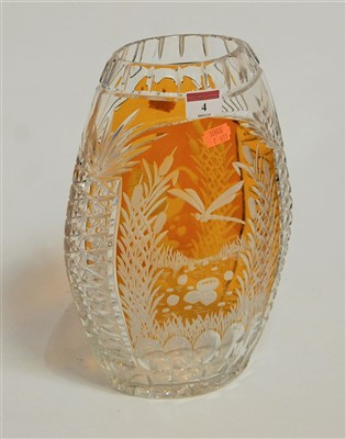Lot 4-A large Bohemian style glass vase, of flattened...