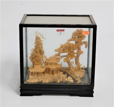 Lot 5-An early 20th century Chinese cork diorama,...