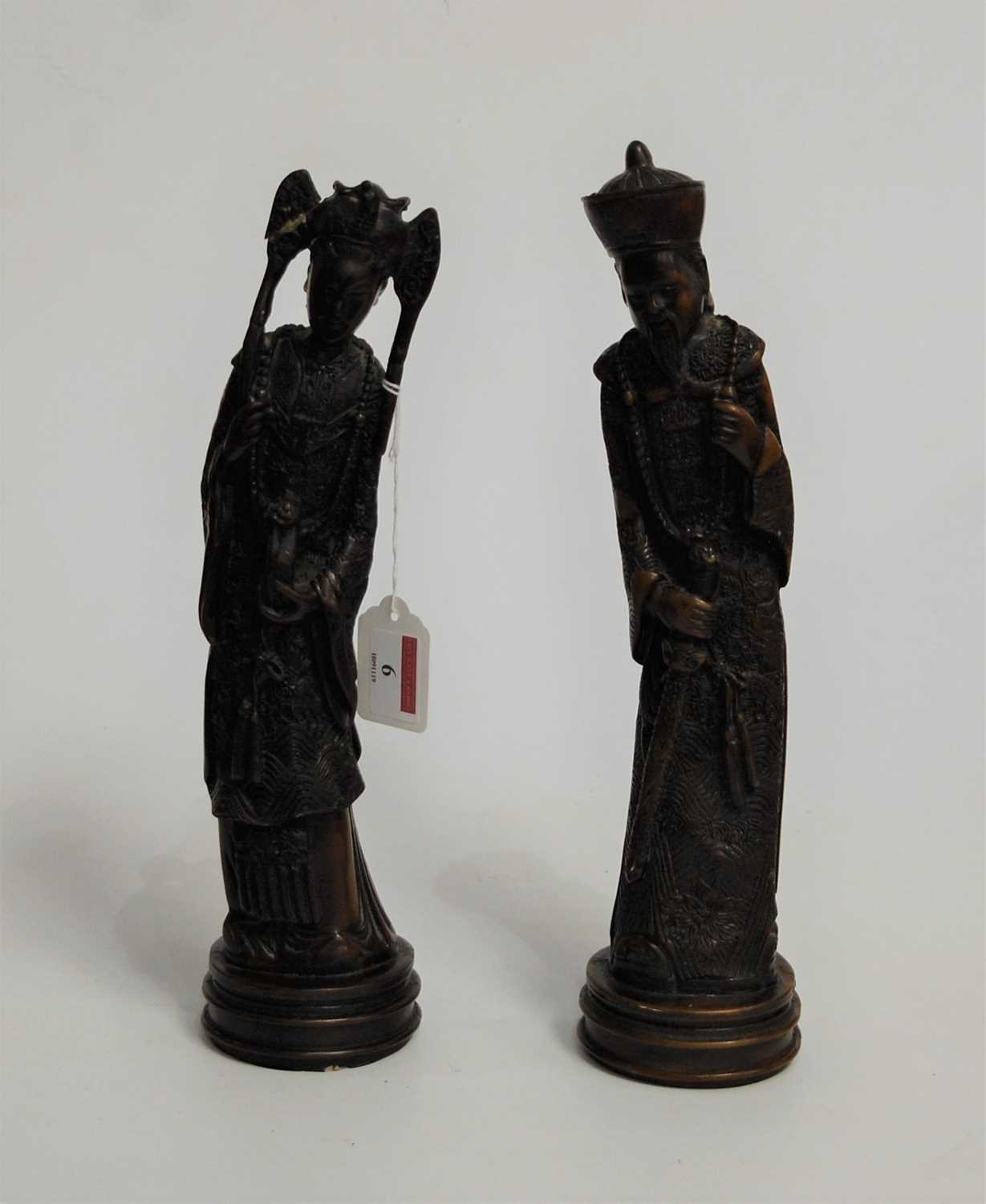 Lot 6-A pair of Asian resin figures, in the form of...