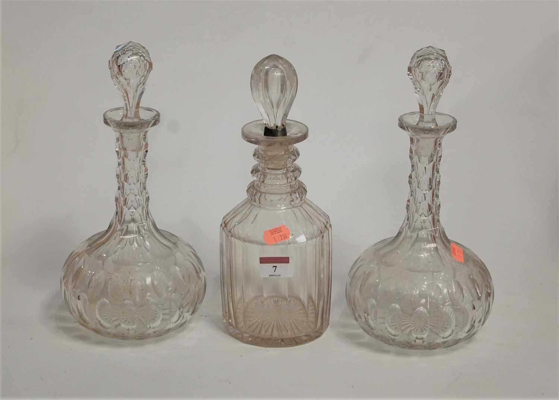 Lot 7-A Regency cut glass triple neck decanter, having...
