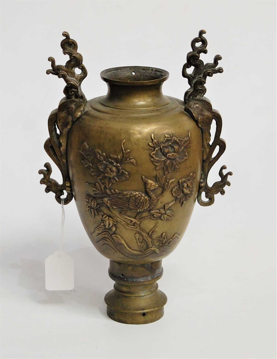 Lot 8-A Japanese bronze twin handled vase, of baluster...