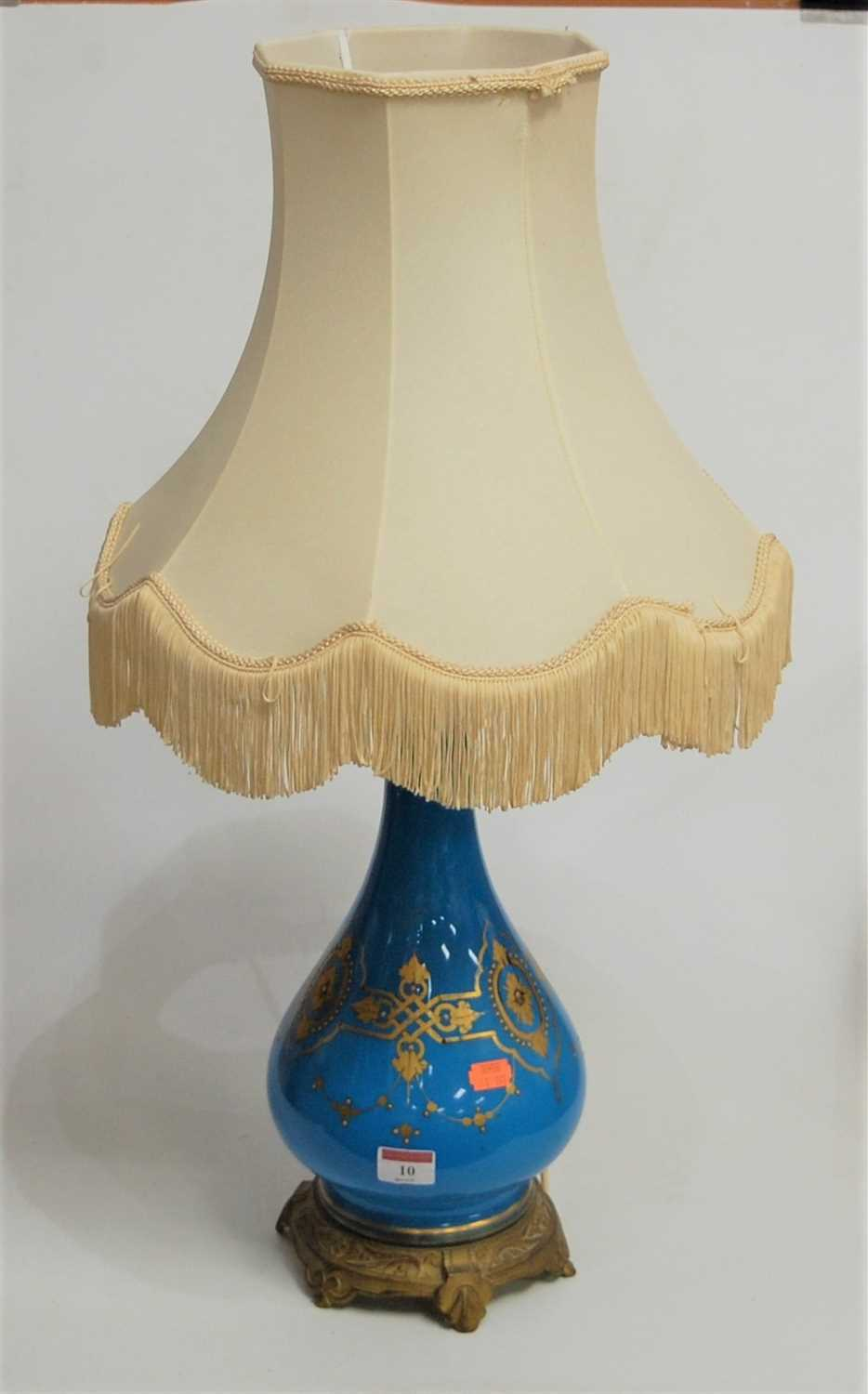Lot 10-A French style blue glazed and gilt metal...