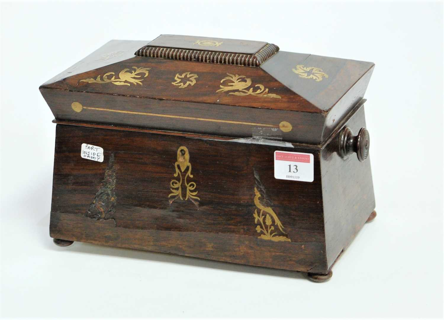 Lot 13-A Regency rosewood and cut brass inlaid tea caddy,...