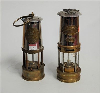 Lot 22-A brass miners lamp, of typical form, bearing...