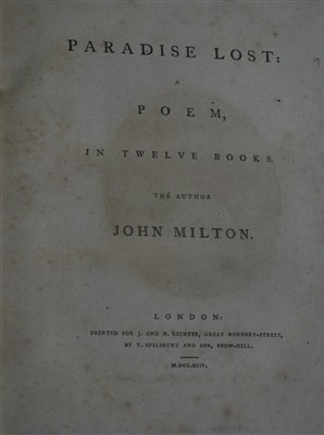 Lot 2012-MILTON, John. Paradise Lost, a Poem in Twelve...
