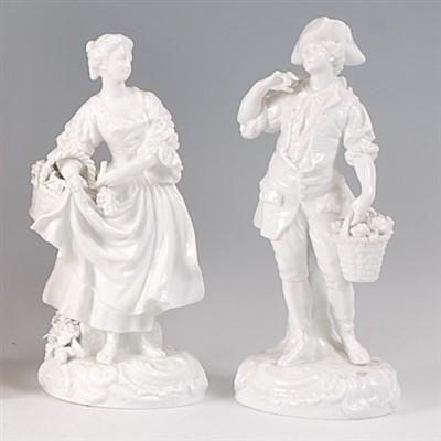 Lot 2036-A pair of 19th century Meissen porcelain blanc-de-...