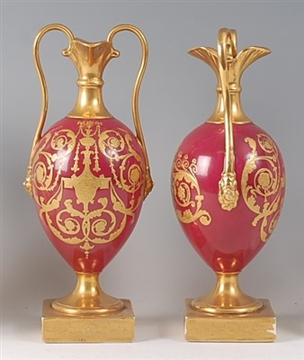 Lot 2035-A pair of 19th century hard-paste porcelain vases,...