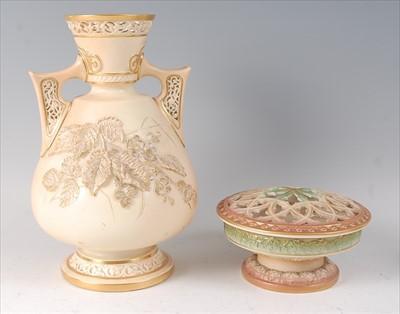 Lot 22-A Worcester porcelain blushware vase, having...
