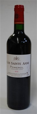 Lot 1057-Clos Sainte Anne, 2016, Pomerol, six bottles (OB)