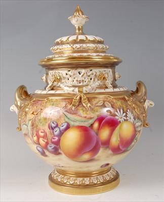 Lot 2041-A Royal Worcester porcelain pedestal vase and...