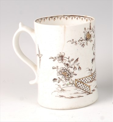 Lot 2049-A Lowestoft porcelain tankard, circa 1770, with...
