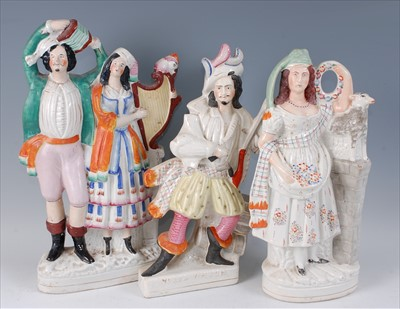 Lot 1-A large Victorian Staffordshire flatback figure...