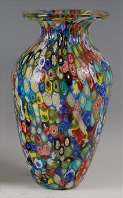 Lot 51-A 1960s Murano 'Tutti Frutti' baluster glass vase,...