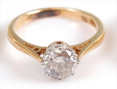 Lot 2026-A yellow and white metal diamond single stone...