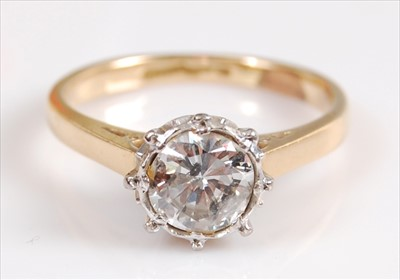 Lot 2038-A yellow and white metal diamond single stone...
