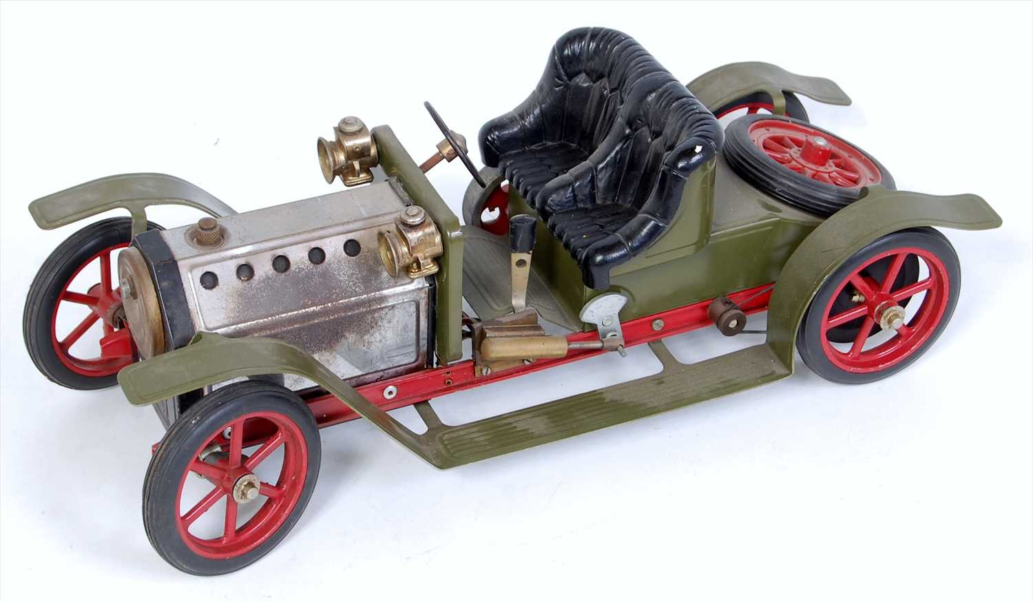 Lot 23-A Mamod SR1A military green and red steam...