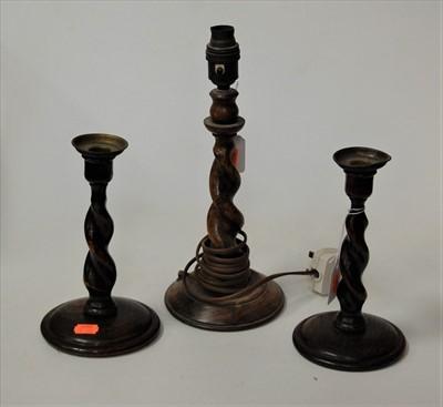 Lot 7-A pair of oak barleytwist candlesticks, h.20cm;...