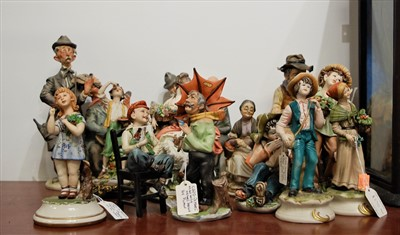 Lot 19-A collection of Capo di Monte figures, to include ...