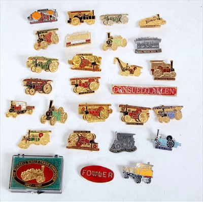 Lot 30-A collection of various steam related pin badges, ...