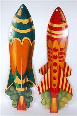 Lot 34-Two metal and hand painted funfair and amusement...