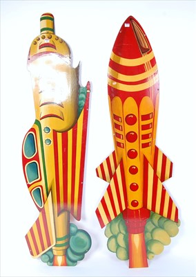 Lot 35-Two metal and hand painted amusement and funfair...