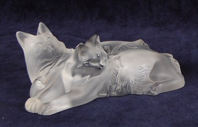 Lot 52-A contemporary Lalique moulded and frosted glass...