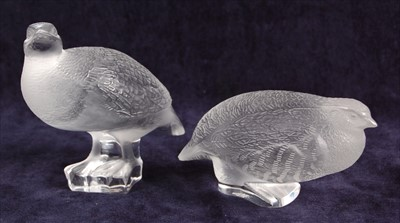 Lot 54-A pair of contemporary Lalique frosted glass...