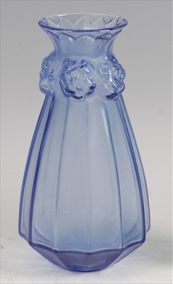 Lot 60-A contemporary Lalique frosted and moulded blue...