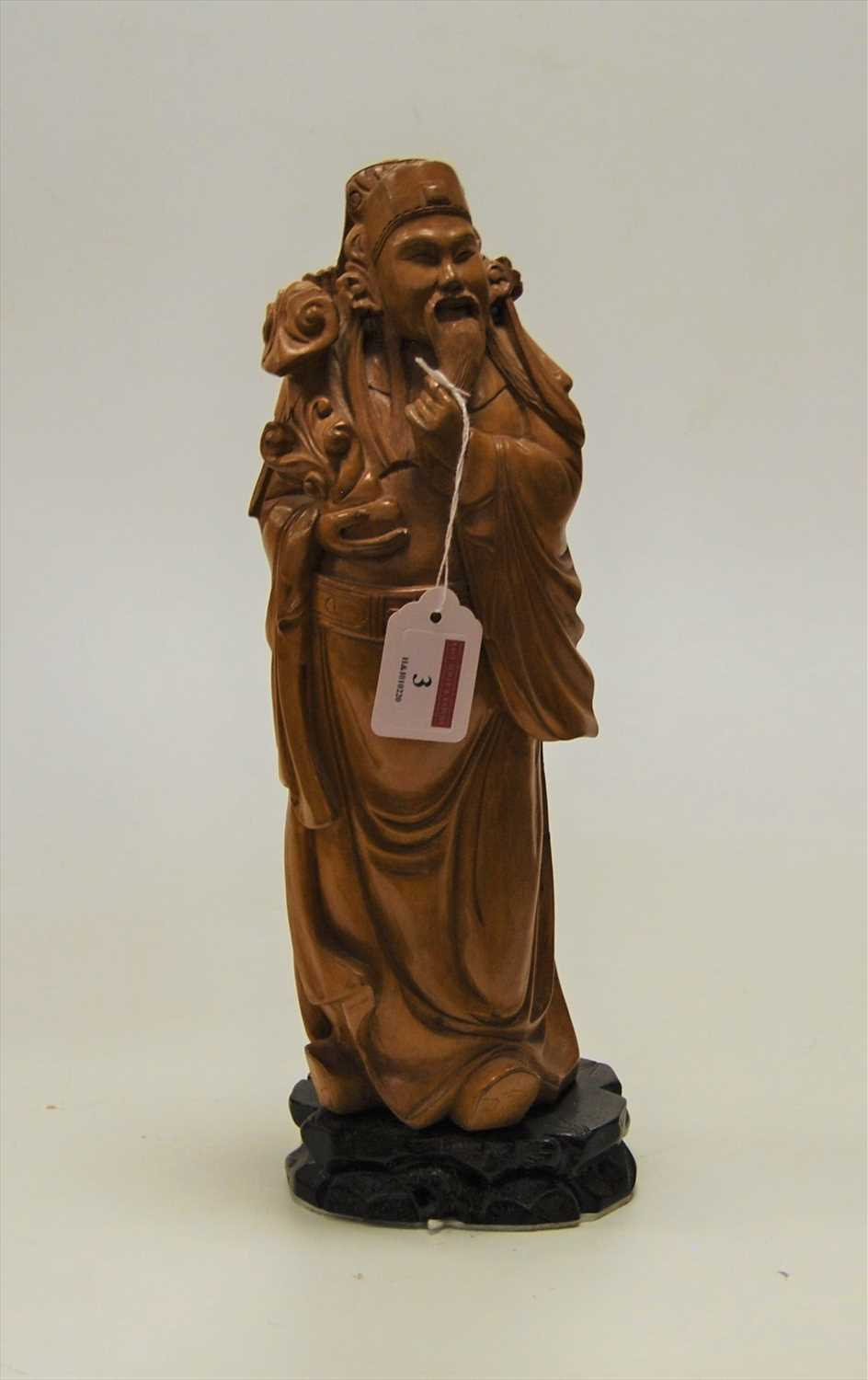 Lot 3-A modern carved softwood figure of a sage, in...