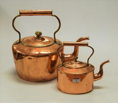 Lot 5-A large 19th century copper range kettle;...