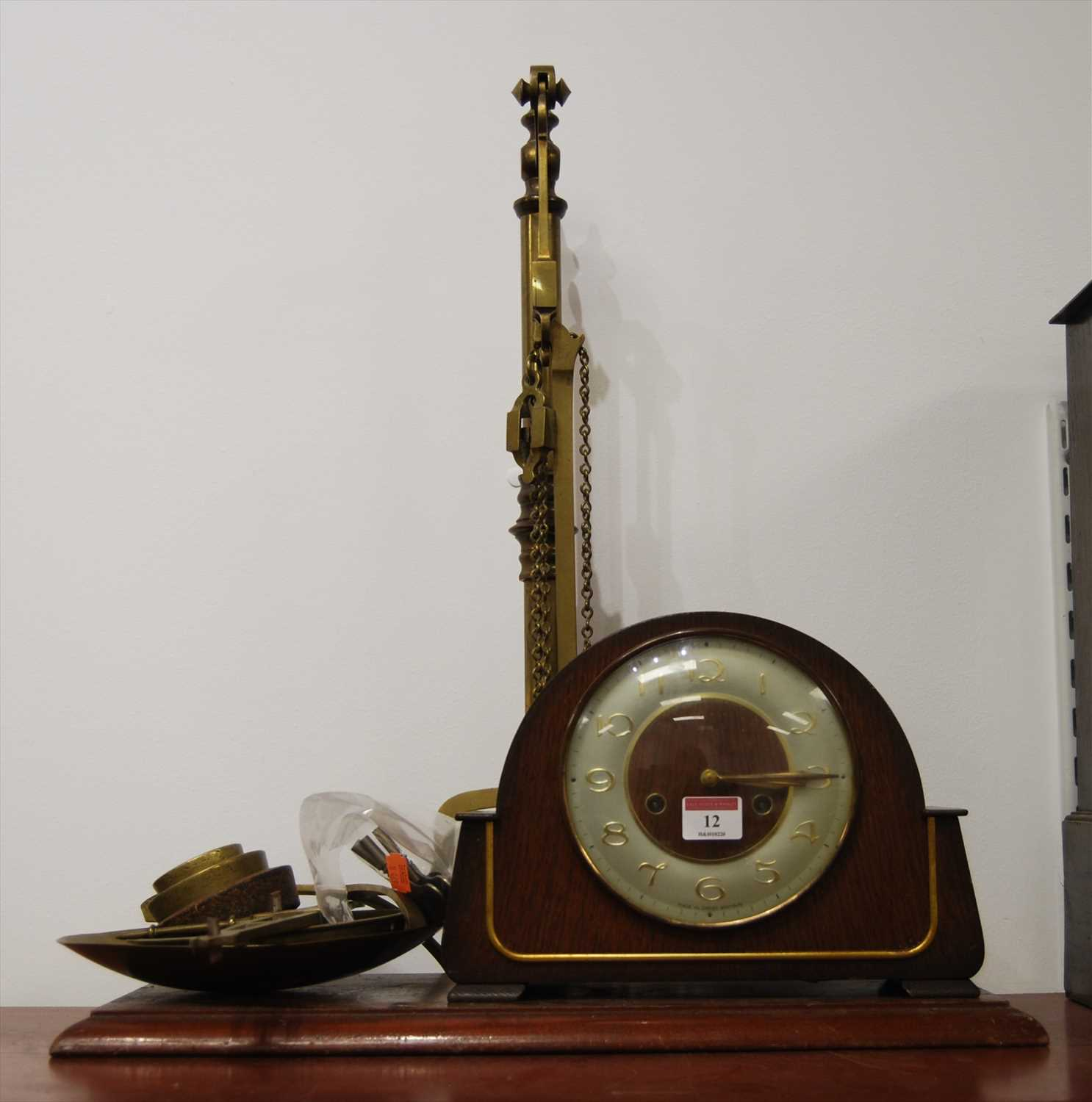 Lot 12-A Victorian brass beam-scale, on mahogany plinth, ...