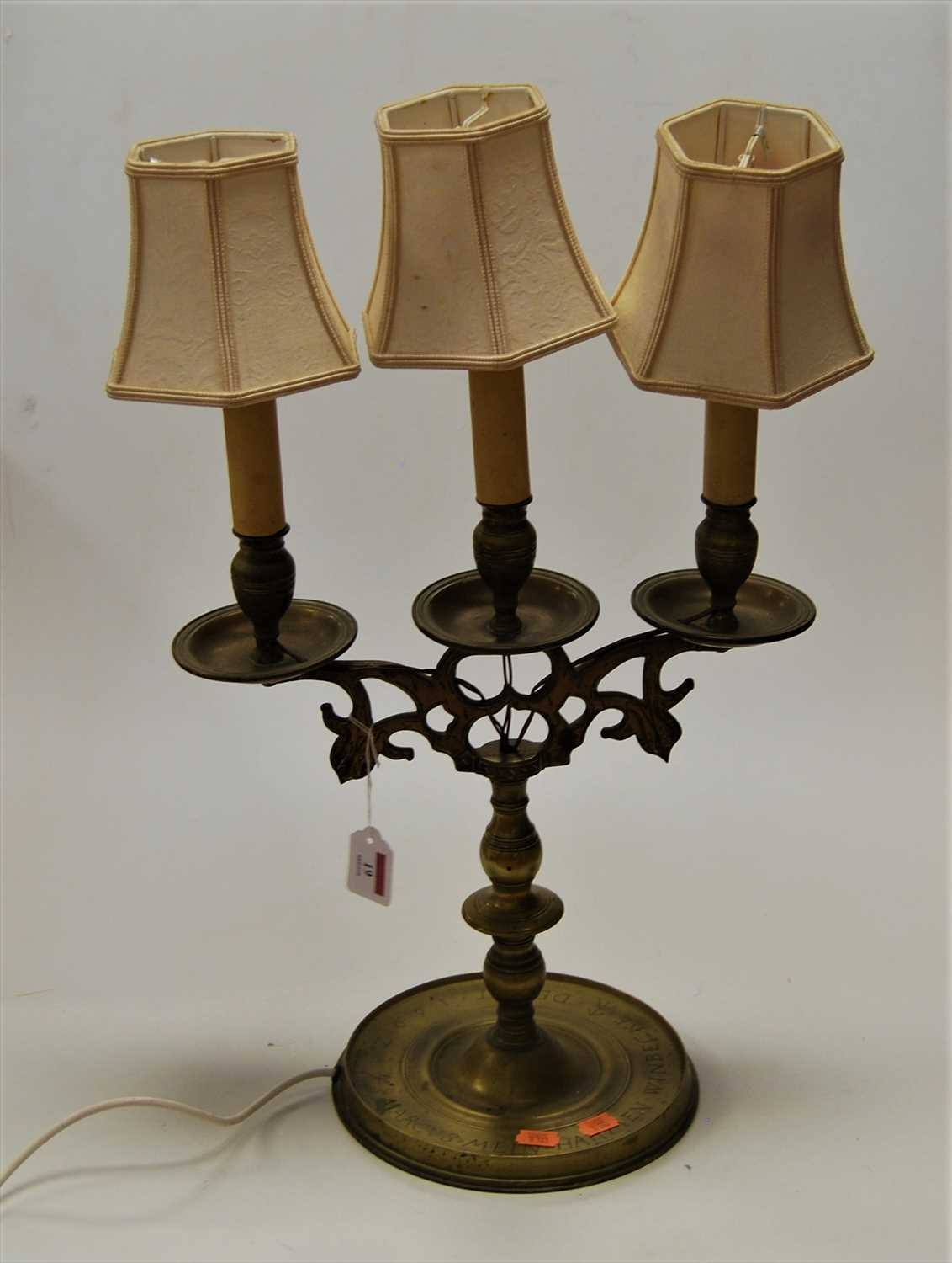Lot 19-A turned brass three-sconce candelabra (later...